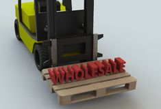 ΧΟΝΔΡΙΚΟ ΕΜΠΌΡΙΟ, μήνυμα στο ξύλινο pillet με forklift το φορτηγό διανυσματική απεικόνιση