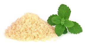 Χονδροειδή κρύσταλλα της καφετιάς ζάχαρης με τα φύλλα stevia Στοκ φωτογραφία με δικαίωμα ελεύθερης χρήσης