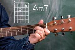 Χορδές κιθάρων παιχνιδιού ατόμων που επιδεικνύονται σε έναν πίνακα, χορδή Am7 στοκ εικόνες με δικαίωμα ελεύθερης χρήσης