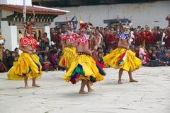 Χορευτές στο μοναστήρι Gangtey, Gangteng, Μπουτάν Στοκ εικόνες με δικαίωμα ελεύθερης χρήσης