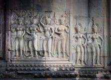 Χορευτές Apsara, bas-ανάγλυφο Angkor, Καμπότζη Στοκ Εικόνες