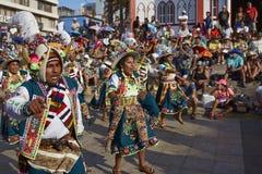 Χορευτές Tinkus στο Arica καρναβάλι, Χιλή Στοκ εικόνες με δικαίωμα ελεύθερης χρήσης