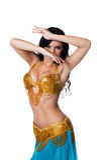 Χορευτής κοιλιών που φορά ένα χρυσό και μπλε κοστούμι Στοκ φωτογραφία με δικαίωμα ελεύθερης χρήσης