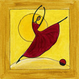 Χορευτής μπαλέτου στο ξύλινο πλαίσιο Διανυσματική απεικόνιση
