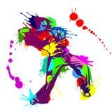 Χορευτής χιπ χοπ κοριτσιών με τους ζωηρόχρωμους παφλασμούς χρωμάτων Στοκ εικόνα με δικαίωμα ελεύθερης χρήσης
