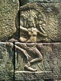 Χορευτής Apsara που χαράζεται στον τοίχο του Khmer αρχαίου ναού Prasat Bayon Το Angkor Wat σε Siem συγκεντρώνει, Cambodia Στοκ εικόνα με δικαίωμα ελεύθερης χρήσης
