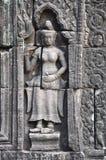 Χορευτής Apsara στην bas-ανακούφιση του ναού Καμπότζη Banteay Kdei. Στοκ Εικόνα