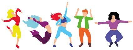 Χορεύοντας άνθρωποι που απομονώνονται στο άσπρο υπόβαθρο Νέο συμβαλλόμενο μέρος έτους ελεύθερη απεικόνιση δικαιώματος
