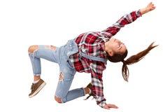 Χορεύοντας αθλητισμός νέων κοριτσιών που χορεύει, στο πουκάμισο καρό, που απομονώνεται στο άσπρο υπόβαθρο Στοκ Εικόνες