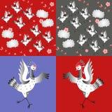 Χορεύοντας γερανοί ball color crystal illustration magic set vector Ασιατικό παραδοσιακό υπόβαθρο Στοκ Εικόνες