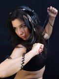 χορεύοντας γυναίκα ακουστικών στοκ φωτογραφίες