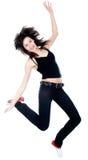 Χορεύοντας γυναίκα με καφετή μακρυμάλλη Στοκ Φωτογραφίες