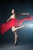 Χορεύοντας γυναίκα στο κόκκινο φόρεμα με το ύφασμα στοκ εικόνα