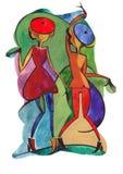 Χορεύοντας ζεύγος στο αφηρημένο ύφος Διανυσματική απεικόνιση