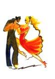 Χορεύοντας ζεύγος στο αφηρημένο ύφος Ελεύθερη απεικόνιση δικαιώματος