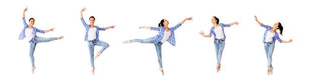 Χορεύοντας κολάζ κοριτσιών στοκ εικόνα