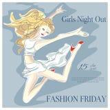 Χορεύοντας κορίτσι μόδας στο νυχτερινό κέντρο διασκέδασης Ελεύθερη απεικόνιση δικαιώματος