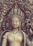 Χορεύοντας κορίτσι Apsara που χαράζεται στον τοίχο του ναού σε Cambodi Στοκ εικόνα με δικαίωμα ελεύθερης χρήσης