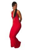 Χορεύοντας κυρία μαύρων Αφρικανών στο κόκκινο φόρεμα Στοκ Εικόνες
