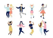Χορεύοντας μικροσκοπικοί μοντέρνοι νέοι καθορισμένοι ελεύθερη απεικόνιση δικαιώματος