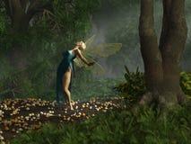 Χορεύοντας νεράιδα στο μπλε φόρεμα απεικόνιση αποθεμάτων