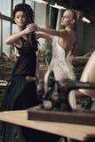 χορεύοντας νοσταλγικές δύο γυναίκες Στοκ Εικόνα