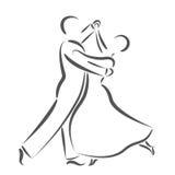 Χορεύοντας λογότυπο ζευγών που απομονώνεται στο άσπρο υπόβαθρο Στοκ Εικόνες