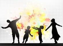 Χορεύοντας οικογενειακές σκιαγραφίες Στοκ φωτογραφίες με δικαίωμα ελεύθερης χρήσης