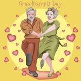 Χορεύοντας παππούδες και γιαγιάδες Οι άνθρωποι απολαμβάνουν τη ζωή και την αγάπη μεταξύ τους διανυσματική απεικόνιση