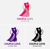 Χορεύοντας πρότυπο λογότυπων αγάπης ζεύγους Στοκ Εικόνες