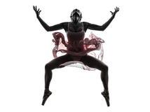 Χορεύοντας σκιαγραφία χορευτών μπαλέτου ballerina γυναικών Στοκ Εικόνα