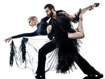 Χορεύοντας σκιαγραφία χορευτών salsa τανγκό αιθουσών χορού ζευγών γυναικών ανδρών Στοκ Εικόνες