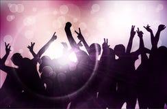 Χορεύοντας σκιαγραφίες ανθρώπων Στοκ Εικόνα