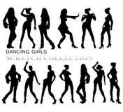 Χορεύοντας σκιαγραφίες κοριτσιών Στοκ Εικόνα
