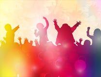 Χορεύοντας σκιαγραφίες παιδιών Στοκ φωτογραφία με δικαίωμα ελεύθερης χρήσης