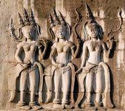 χορεύοντας τοίχος τρία apsara angkor wat Στοκ Εικόνα