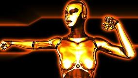 Χορεύοντας χρυσό κορίτσι ρομπότ απόθεμα βίντεο