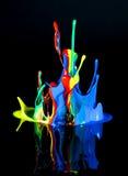 Χορεύοντας χρώμα στο Μαύρο Στοκ Εικόνα