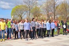 Χορεύοντας όχλος λάμψης πόλεων Στοκ φωτογραφία με δικαίωμα ελεύθερης χρήσης