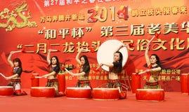 Χοροί τυμπάνων της Κίνας Στοκ Φωτογραφίες