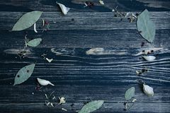 Χορτάρια και καρυκεύματα γύρω από το πλαίσιο στο μπλε ξύλινο υπόβαθρο, τοπ άποψη, θέση για το κείμενο στοκ φωτογραφίες