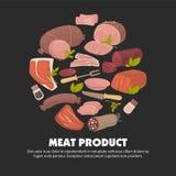 Χορτάρια και καρυκεύματα τροφίμων καταστημάτων κρεοπωλείων προϊόντων κρέατος απεικόνιση αποθεμάτων