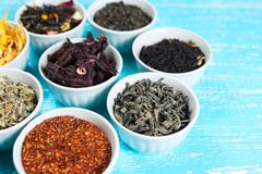 Χορτάρια και τσάγια στα κύπελλα για να κάνει το τσάι στο μπλε CL επιτραπέζιου υποβάθρου Στοκ Εικόνες