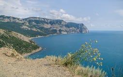 Χορτάρι στα της Κριμαίας βουνά και Μαύρη Θάλασσα Στοκ Εικόνες