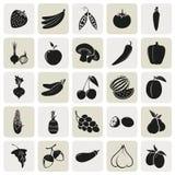 Χορτοφάγα εύγευστα τρόφιμα 25 απλά εικονίδια καθορισμένα Στοκ φωτογραφία με δικαίωμα ελεύθερης χρήσης