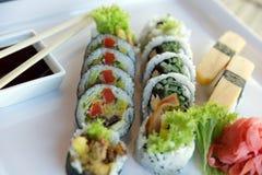 Χορτοφάγα ιαπωνικά σούσια Στοκ εικόνα με δικαίωμα ελεύθερης χρήσης