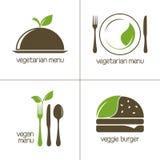 Χορτοφάγα και vegan εικονίδια τροφίμων Στοκ φωτογραφία με δικαίωμα ελεύθερης χρήσης