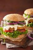 Χορτοφάγα καρότο και burger βρωμών με την ντομάτα κρεμμυδιών αγγουριών Στοκ εικόνες με δικαίωμα ελεύθερης χρήσης