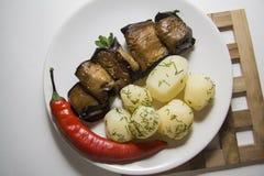 Χορτοφάγα τρόφιμα: ρόλοι μελιτζανών Στοκ φωτογραφία με δικαίωμα ελεύθερης χρήσης