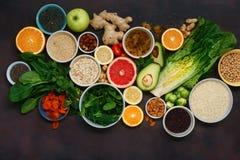 Χορτοφάγα υγιή δημητριακά σπόρων φρούτων λαχανικών τροφίμων superfood στοκ φωτογραφίες με δικαίωμα ελεύθερης χρήσης